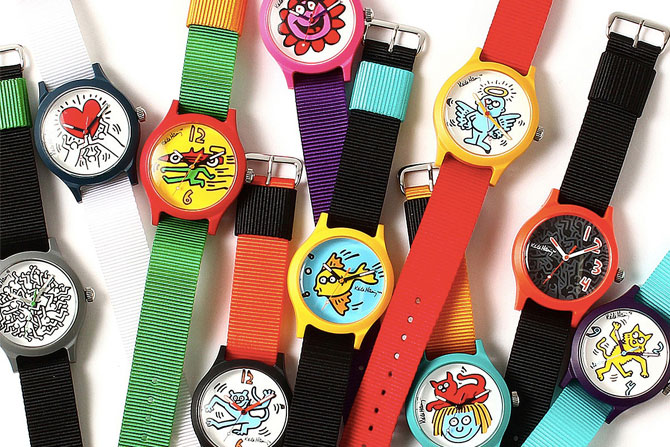 1980s-style Beams x Keith Haring watches