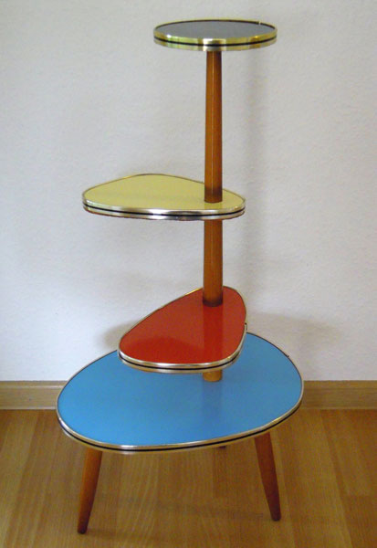 Midcentury Formica and wooden plant stand