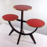 Midcentury modern German walnut and glass plant stand