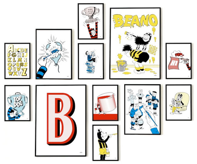 Pop art-style Beano prints by Art & Hue