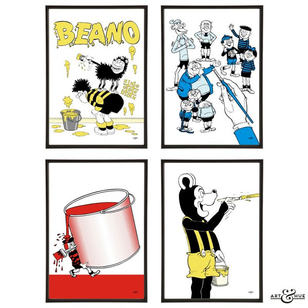 Pop art-style Beano prints by Art & Hue