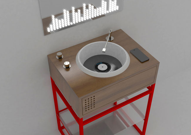 Vinyl record-deck-inspired bathroom units by Olympia Ceramica