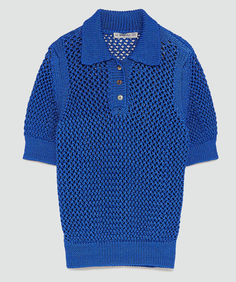 Vintage-style knitted polo shirt at Zara