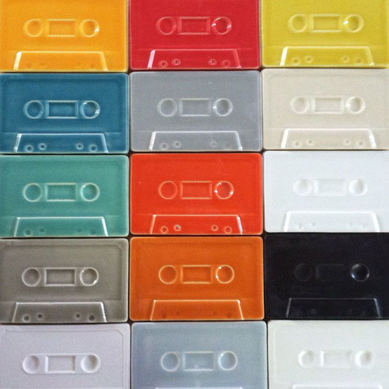 Cassette Deco: Cassette tape wall tiles by Clayhaus