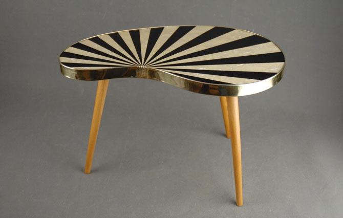 Vintage kidney-shaped midcentury modern table on eBay