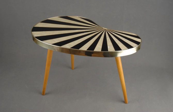 Vintage kidney-shaped midcentury modern table on eBay