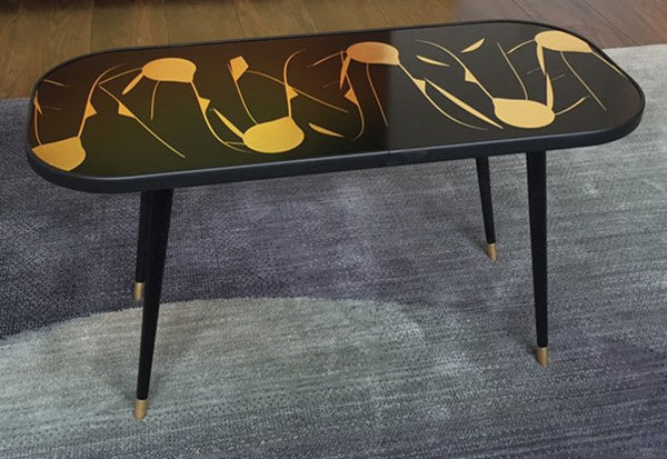 Printed midcentury modern coffee table by Retro Ray Designs