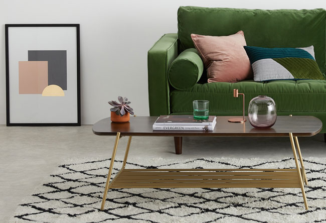 Bortolin wood and brass table at Made