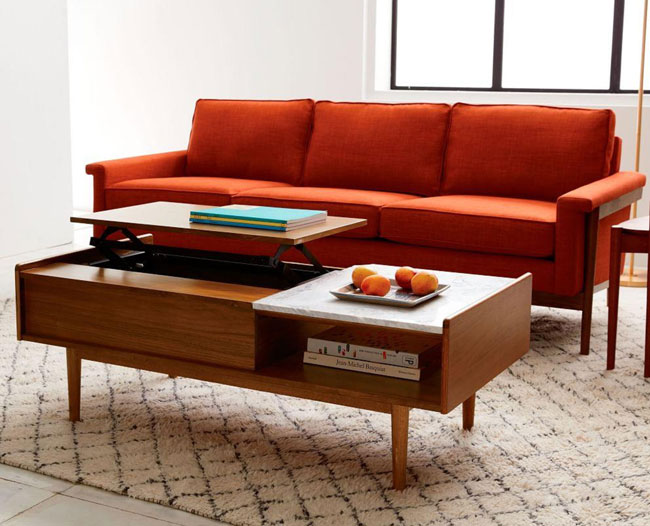 Mid-Century Pop-Up Storage Coffee Table at West Elm