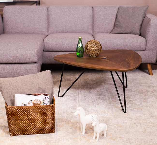 Rivet triangle coffee table at Amazon