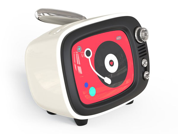 QTV retro wireless speaker with clock and alarm