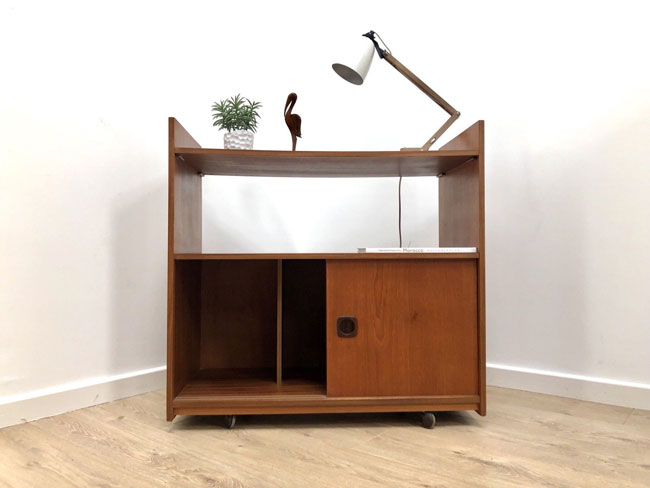 1960s teak record storage cabinet on eBay