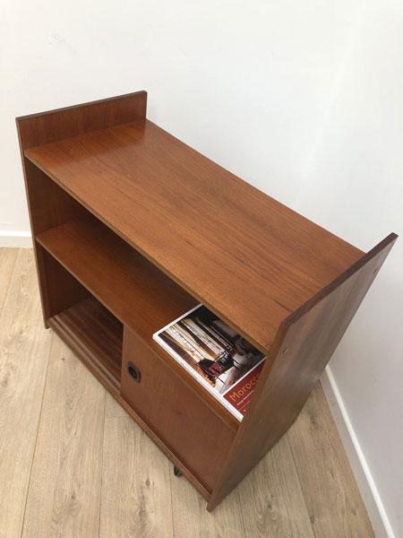 1960s teak record storage cabinet on eBay