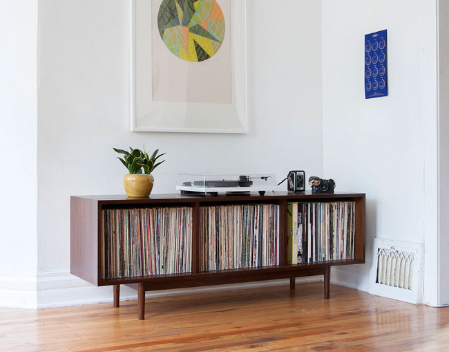 Handmade midcentury record storage by Department Chicago