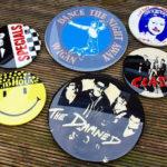 Oversized vintage music pin badge art by Tapedeck Art