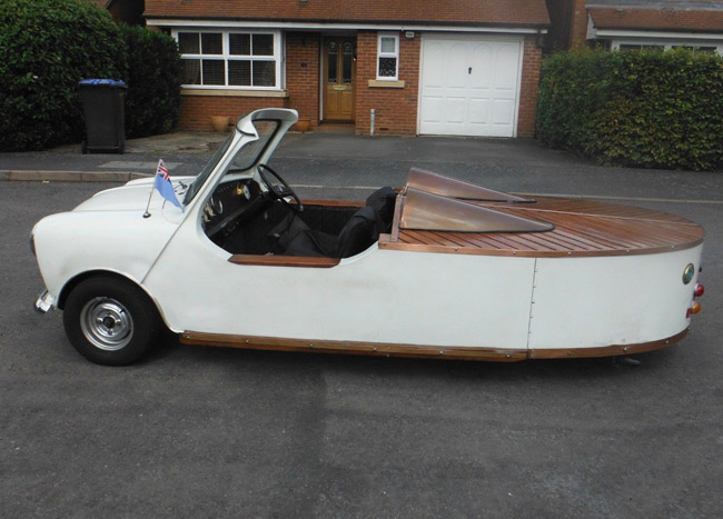 Tritanic boat-shaped Mini car on eBay