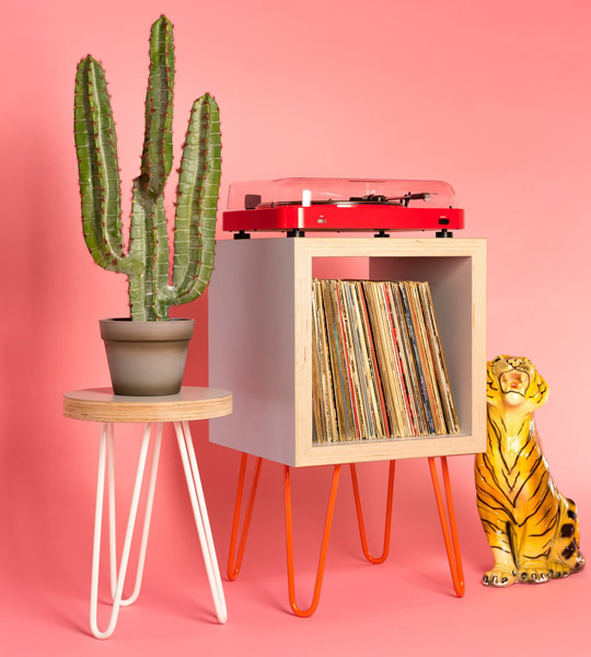 Bespoke vinyl storage units by Hello Retro