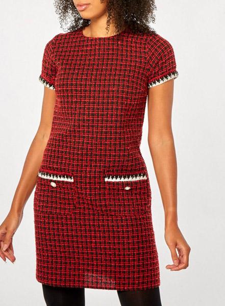 1960s-style red mini check shift dress at Dorothy Perkins