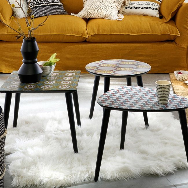 Nomado retro printed coffee tables at La Redoute