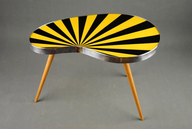 Midcentury kidney-shaped striped side table on eBay