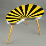 Midcentury kidney-shaped striped side table on eBay