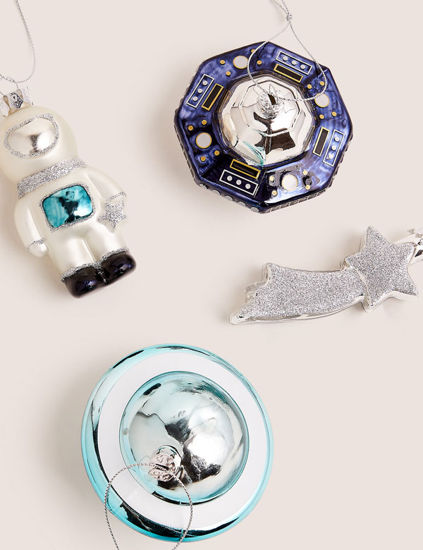 13. Retro Glass Space Baubles at Marks and Spencer