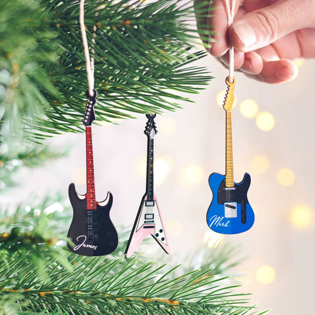 30. Personalised guitar Christmas tree decoration by Oakdene Designs