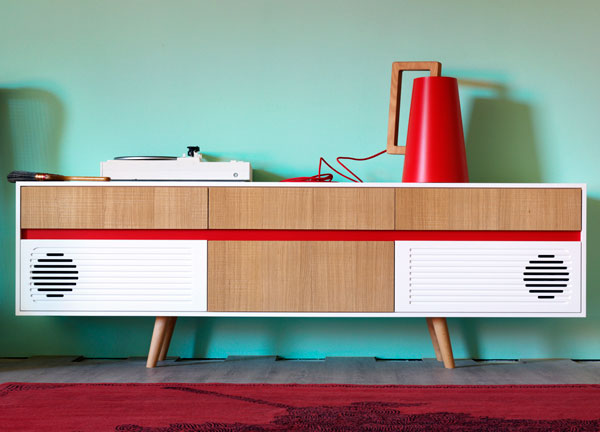 10. Miniforms midcentury-style Skap sideboards with built-in audio
