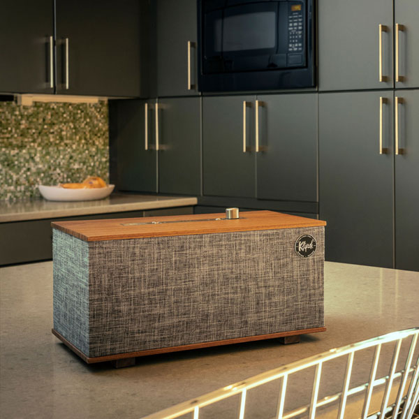4. Klipsch The Three vintage-style speaker with Google Assistant