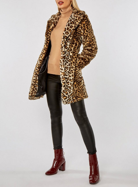 Leopard Print Faux Fur Coat at Dorothy Perkins