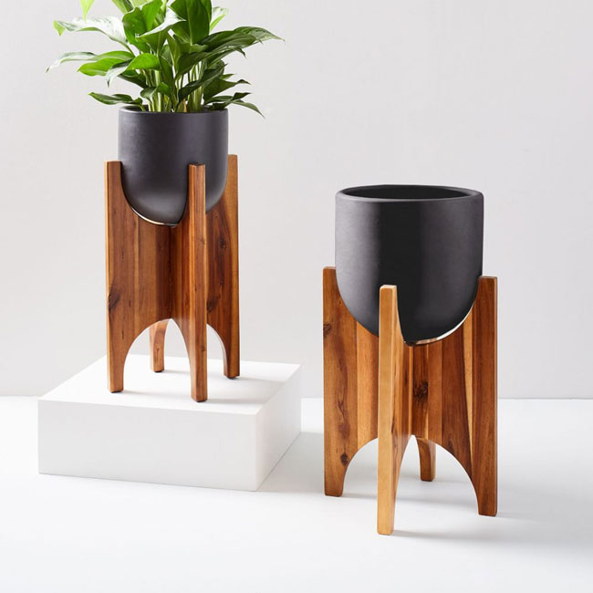 Arches midcentury standing planters at West Elm