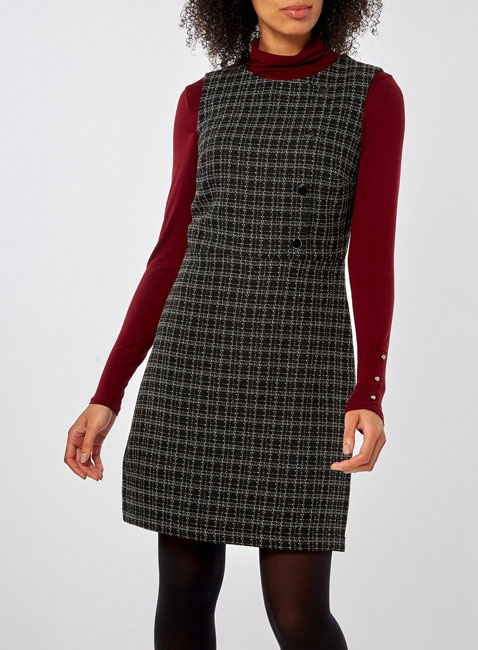Black boucle button 1960s-style shift dress at Dorothy Perkins