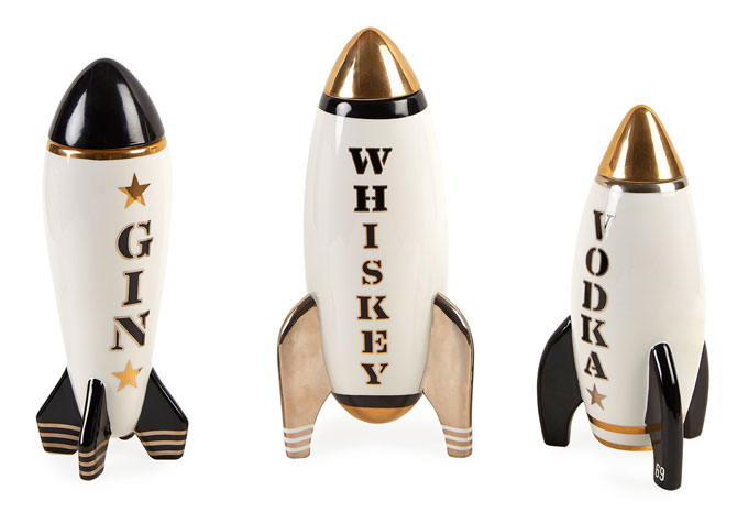 Retro Rocket Decanters by Jonathan Adler