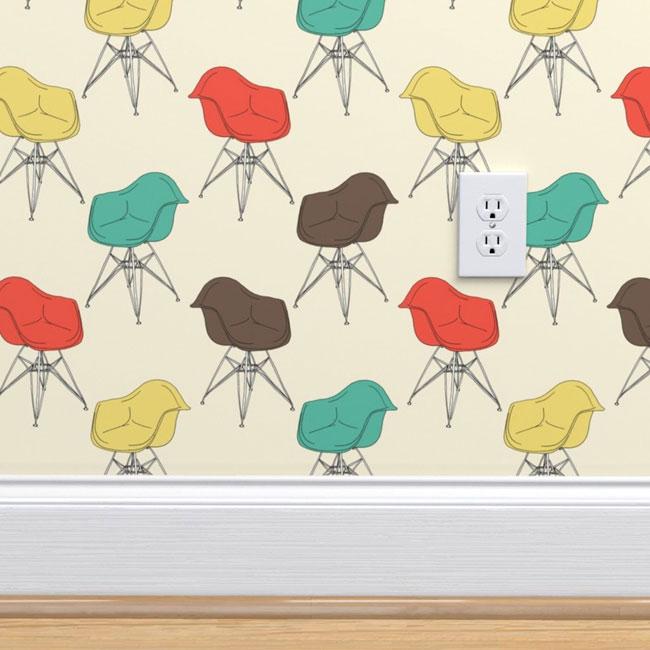 Eames Armchair retro wallpaper by Marketa Stengl
