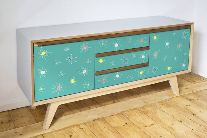 Handmade 1950s-style Atomic sideboards by Scout & Boo