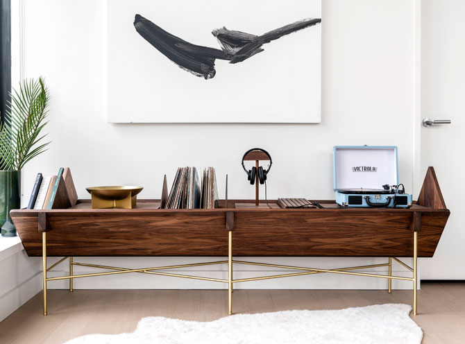 Midcentury Open 45 Credenza vinyl unit by Sitskie