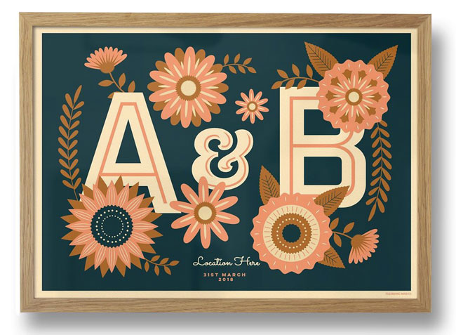 Personalised retro Valentine's prints by Telegramme Paper Co.
