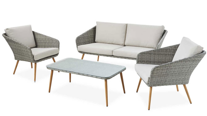 Midcentury modern-style garden furniture at Aldi