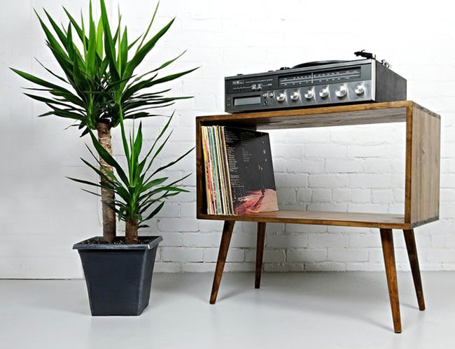 Midcentury modern vinyl consoles by Vybe Furniture