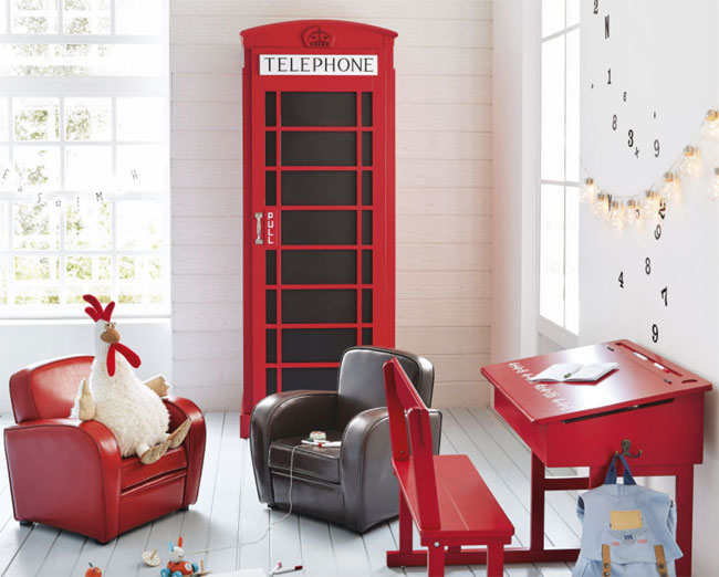 Red phone box wardrobe for kids at Maisons Du Monde