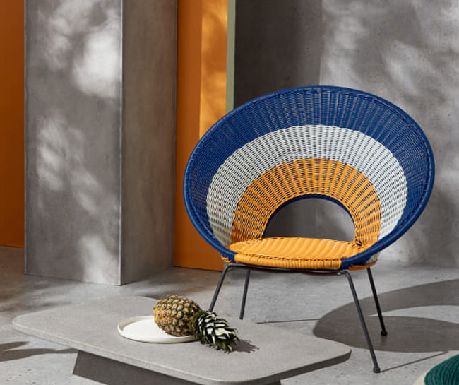 Yuri retro target garden lounge chair at Made