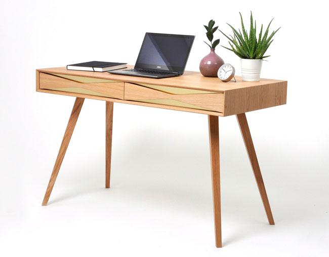 3. Retro oak and brass office desk by Pokojscy Studio