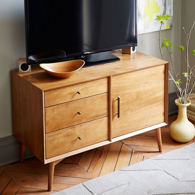 Mid-century media console range at West Elm