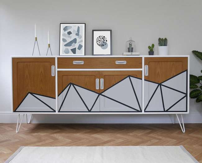 Upcycled midcentury modern furniture by Elizabeth Dot Design