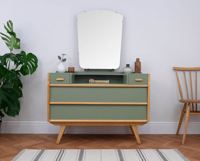Upcycled midcentury modern furniture by Elizabeth Dot Design