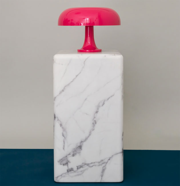 Limited edition pink 1960s Artemide Nessino lamp