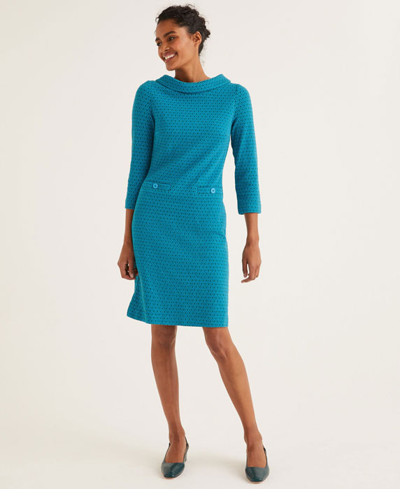 Bessie 1960s-style jacquard dress at Boden