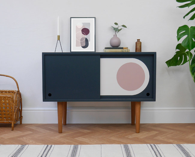 Retro graphic print record cabinets at Elizabeth Dot Design