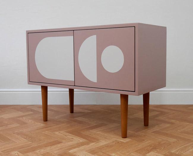 Retro graphic print record cabinets at Elizabeth Dot Design