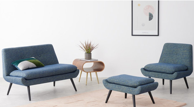 Jonny midcentury modern compact seating range at Made